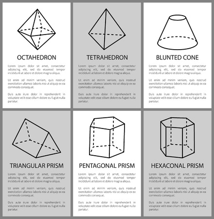 Tetrahedron and octahedron, pentagonal prism sketch, vector illustration, blunted cone, hexagonal and triangular prisms, varied geometric figures set  イラスト・ベクター素材