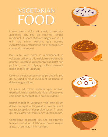 Vegetarian food, various porridges collection, vector illustration, brown bowls with different squashes set, pumpkin and pepper pieces, text sample Imagens - 105603205