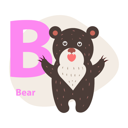 Children ABC with cute animal cartoon vector. English letter B with funny bear flat illustration isolated on white background. Zoo alphabet with mammal and caption for preschool education, kids books Illustration
