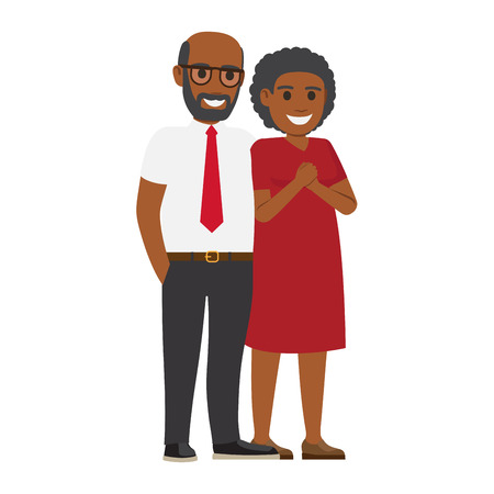 Middle-aged African American pair standing together vector. Smiling spouses in elegant clothes isolated on white background. Happy parents-in-law illustration for wedding and family holidays concept