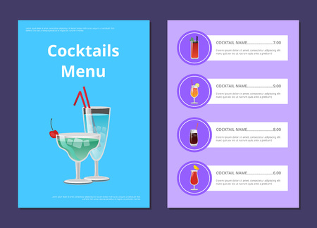 Cocktails Menu Advertisement Poster with Martini