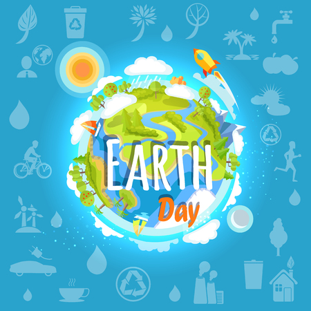 Earth day poster with planet infrastructure on background of icons in clean environment concept. Vector illustration of green trees, high mountains, factory building and globe.