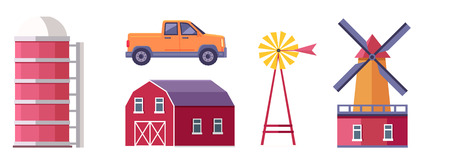 Set of farm buildings, structures and machines. Traditional wooden barn, windmill with wind water pump, pickup truck and granary flat isolated vector illustrations. Ranch icons collection Illustration