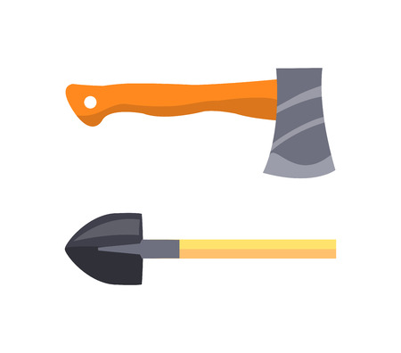 Set of icons depicting vector illustration of shovel and hatchet with wooden shaft and grip, and steel blades isolated on white background. Illustration