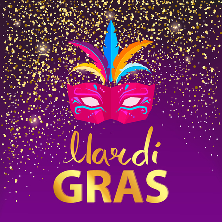 Mardi gras, pink carnival mask with three colorful feathers, confetti above it and title below on vector illustration isolated on purple