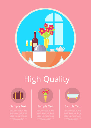 High Quality Service in Hotel Vector Illustration