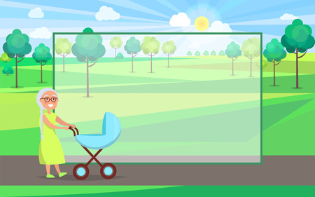 Senior lady with blue trolley pram walking in city park taking care about newborn boy on background of green trees in park vector with frame for text.