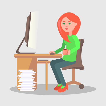 Cartoon female character sits at table with computer, stock of papers on the floor nearby. Vector illustration of comfortable work process. Woman does her job on laptop in cozy office in flat design