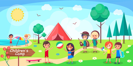 Children s camp poster depicting kids having fun. Vector illustration of boys and girls playing, sunbathing and enjoying themselves