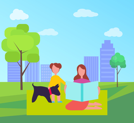 Mother and daughter with dog vector on background of skyscrapers in city park. Adult woman sitting on green blanket with young kid standing beside puppy