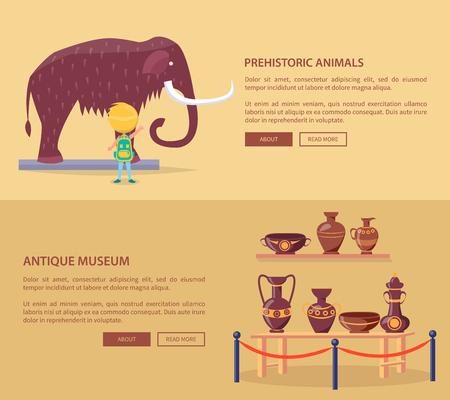Exhibition of Prehistoric Animals and Greek Vases Illusztráció