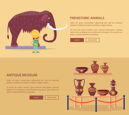 Exhibition of Prehistoric Animals and Greek Vases Illustration