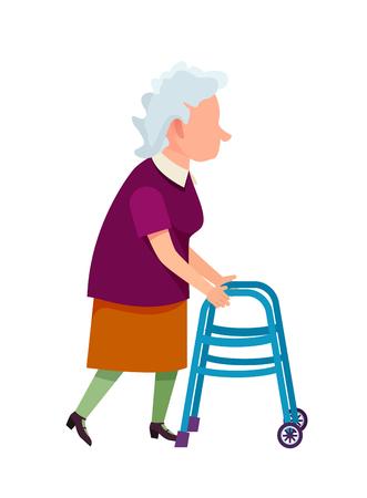 Ältere Großmutter, die sich mit Hilfe der isolierten Vektorillustration des Vorderradwanderers auf Weiß bewegt. Metallwerkzeug zur Unterstützung des Gehens