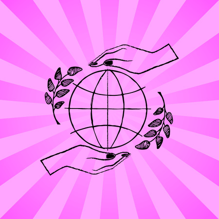 International peace day poster with two hands protecting sign of freedom vector illustration with olive branches on pink background with rays