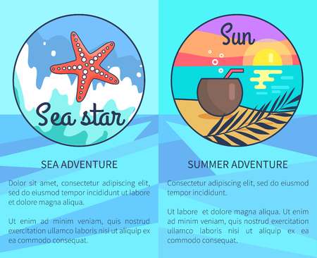 Set of advertising sea and summer adventure posters with inscriptions. Vector illustration of circle icons depicting pink seastar and peaceful seaside