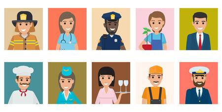 Set di icone vettoriali di professioni persone. Personaggi dei cartoni animati di uomini e donne di professione diversa in uniforme isolati su sfondi colorati. Illustrazione piana di avatar di occupazioni per la festa del lavoro, concetto di lavoro