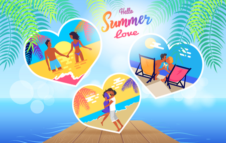 Summer love banner with photos of lovely young couple relaxing and dating on beach in hot season vector posters in heart shape on background with pier.