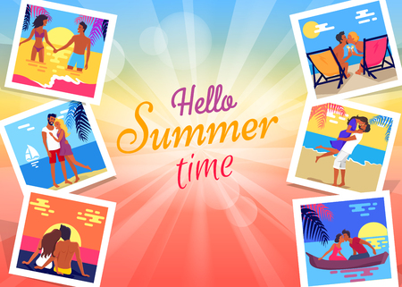 Hello summer time banner with photos of lovely young couple relaxing and dating on beach in hot season flat vector colorful poster