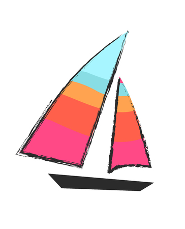 Sailboat closeup isolated colorful icon on white vector illustration in graphic design. Transportation mean for floating on water with sails