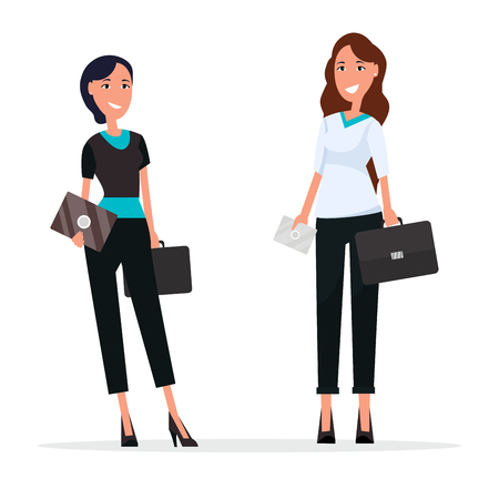 Women with suitcases on white. Ladies on high heels dressed in formal suits. Vector illustration of businesswomen with cards or invitations Ilustração