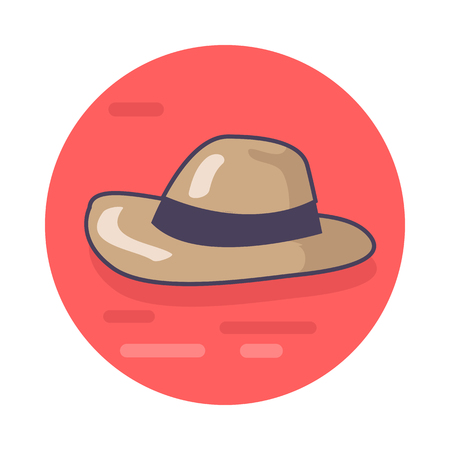 Vector illustration of light brown sun protection hat with black band isolated on red background. Circle icon depicting headwear item.