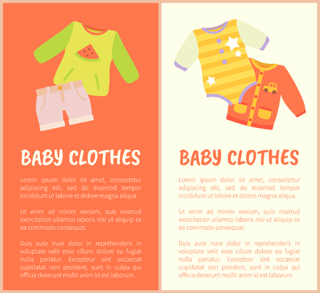 Baby Clothes, two colorful vector illustrations isolated on white and red, clothes with car watermelon and star prints, baby suit and bright shorts