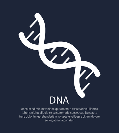 DNA macromolecule human individual genetic code, genome symbol in concept of biochemistry and nanotechnology researches, DNA sign isolated on black Illustration