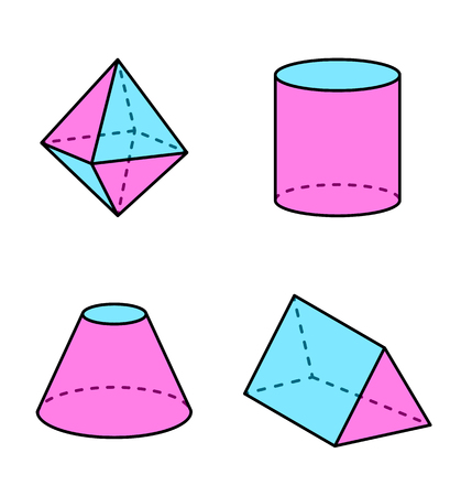 Octahedron and Triangular Prism Vector Illustration