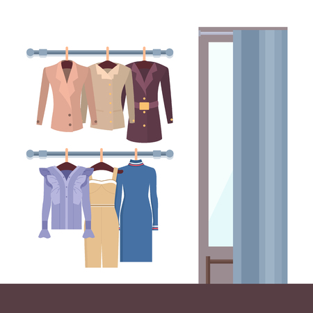 Summer mode and changing room, curtain and mirror,fitting room and clothes on hangers, dress jacket vector illustration isolated on white background