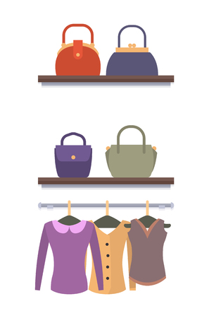 Clothes hanging on hangers in Women clothing store vector illustration of modern blouses and sweaters and racks with bags and purse handbag isolated