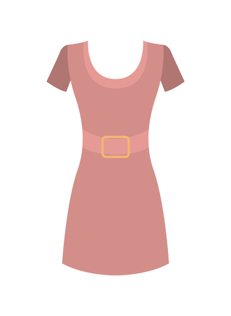 Pink Dress with Round Collar Short Sleeves Vector Illustration