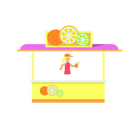Cute colorful stall isolated on white background vector illustration abstract shop with lilac cover and fruits icons on it, fresh juice and soda stall