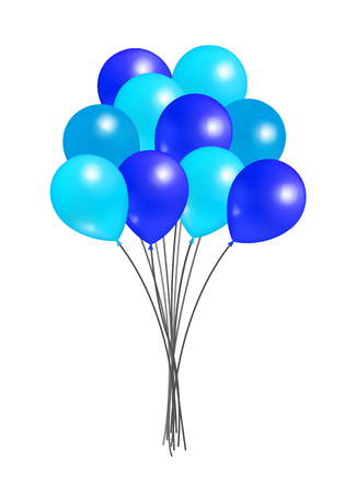 Balloons big bundle for party decorations, birthdays and anniversaries, rubber balloon of blue color in inflatable bunch, helium flying elements