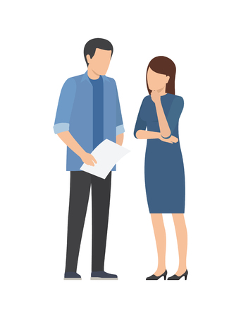 Cooperation between man and woman at work, discussing startup project issues vector illustration of business people. Male with paper and thoughtful woman Illustration