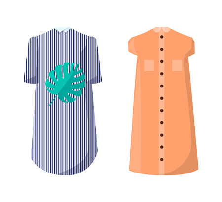 Modern summer dresses with high collar and buttons. Dress with striped print and leaf image and one with pockets isolated vector illustrations set.