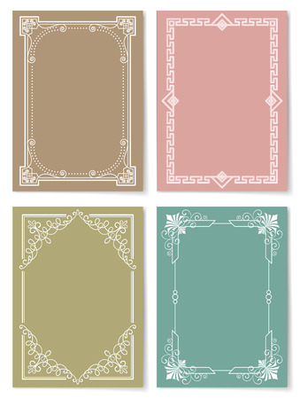 Engraving baroque style vintage frames set vector illustration collection of retro borders isolated on color backgrounds. Foliate frames in flat style
