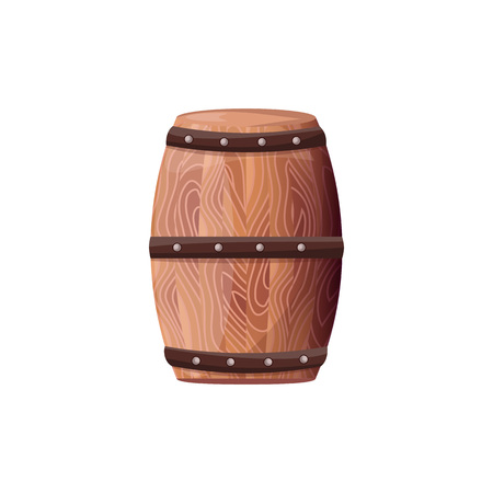 Wooden Barrel with Wine Vector on White Container Stok Fotoğraf - 104456142