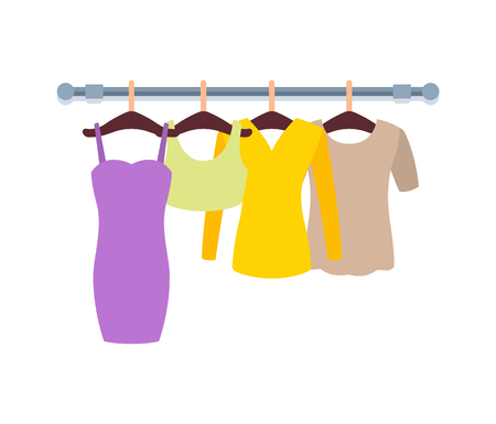 Clothes hanging on hangers in Women clothing store vector illustration of dress, blouses and t-shirts on racks, apparel isolated on white background Illustration