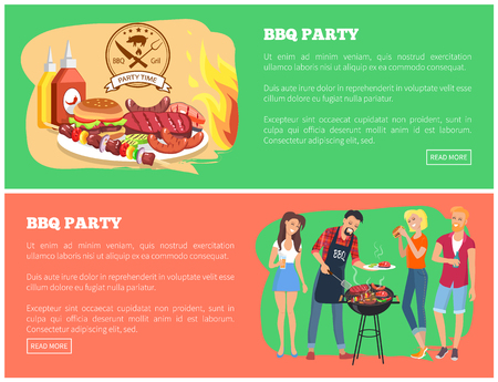 BBQ party collection of web pages with text sample and buttons, brochette and sausages, steak and vegetables, food variety bbq vector illustration Illustration