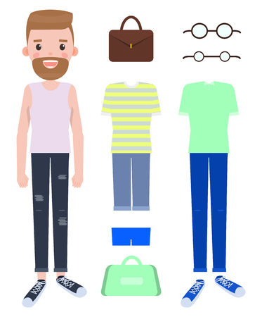Man fashion mode constructor with various clothes on your choice. Do it yourself creator of man style with apparel and modern accessories vector set