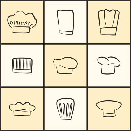 Chef Hats of All Designs Monochrome Sketches Set Illustration