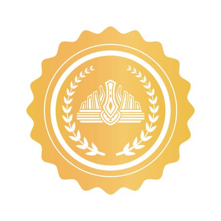 Corona all'interno della corona di alloro sul timbro dorato rotondo
