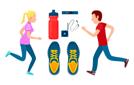 Two running sportsmans, workout colorful banner vector illustration, man and woman, items for sportsman, sneakers and bottle, mp3 player, pulse sensor 向量圖像
