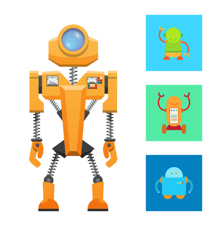 Futuristic machine concept, yellow robot icon, vector illustration with small smiling robots, big lense on head, two panels with buttons, springs set