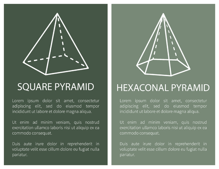 Square and hexagonal pyramid geometric shapes simple figures sketches made from lines and dashes, square hexagonal pyramids projections vector set