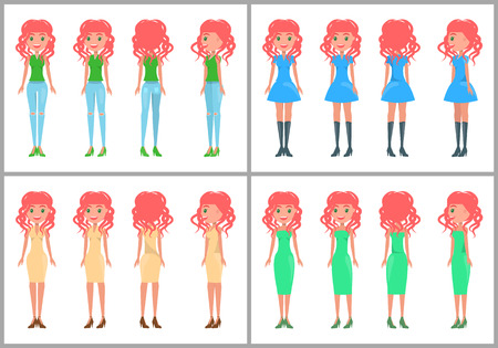 Women in dresses and jeans vector summer animated mode. Redhead pretty women in stylish outfits from all sides set. Girls in casual elegant clothes  イラスト・ベクター素材