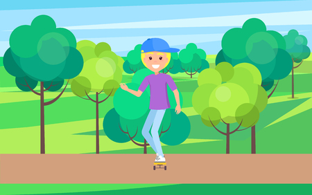 Skater outdoors, young skater in cute hat riding on roller skateboard vector illustration on background of green trees, skater in city park outdoors