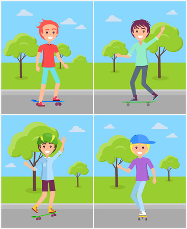 Set of boys skaters riding in green park vector illustration of guys in caps and helmets on skateboards, happy teenagers skaters at springtime vector