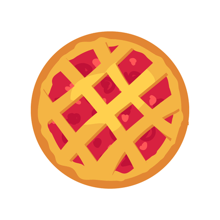 Whole pastry pie with fruit filling, vector card, abstract geometric pattern from dough, delicious pie icon, food template, color vector illustration
