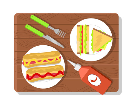 Food placed on wooden board, sandwich and hot dog, ketchup bottle, fork and knife, food and picnic vector illustration isolated on white background Illustration